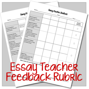 Essay Teacher Feedback Rubric
