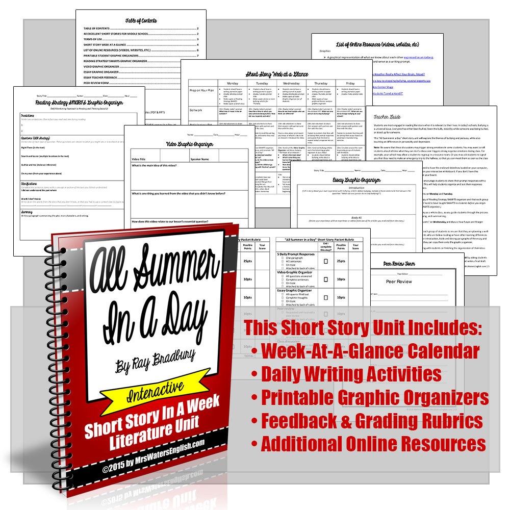 all summer in a day ray bradbury short story unit with writing project - Halloween Short Stories Middle School