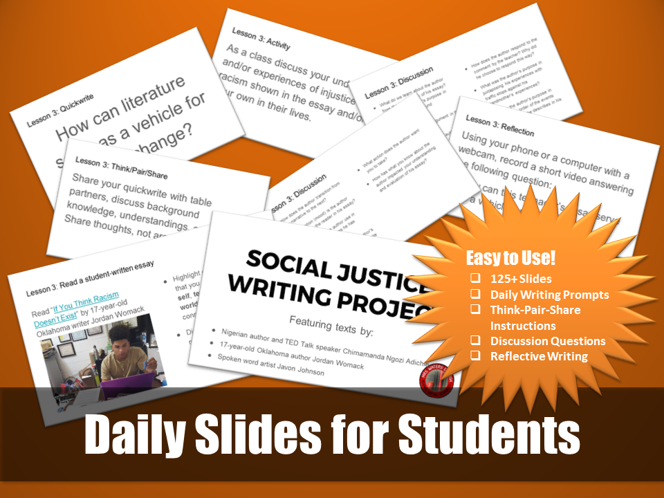 Social Justice Writing Project Daily Slides