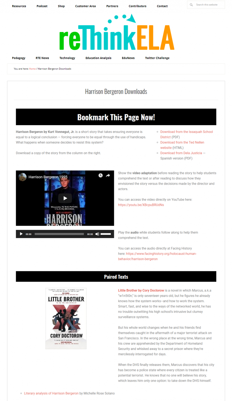 Harrison Bergeron Resource Page
